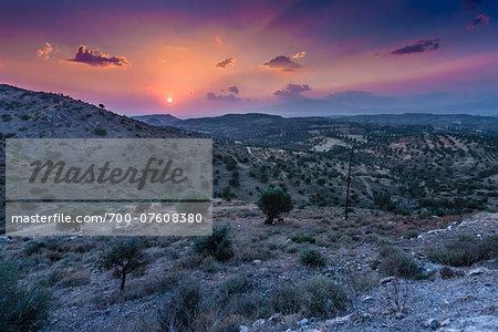 View of countryside near Pitsidia, Crete, Greece.