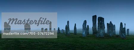 Callanish Standing Stones in fog, Isle of Lewis, Hebrides, Scotland.