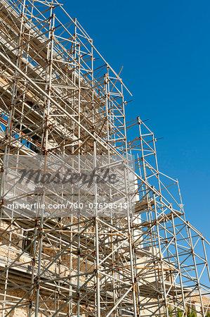 Scaffolding in the Almudaina, Ibiza Castle, Old Town, Dalt Vila, Eivissa, Ibiza, Balearic Islands, Spain, Mediterranean, Europe