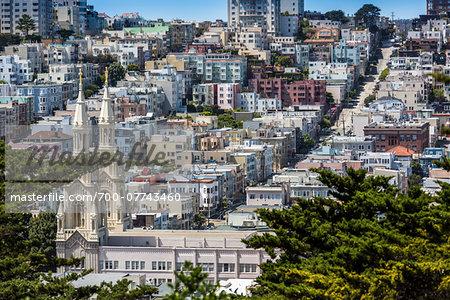 Filbert Street and Saints Peter and Paul Church from Telegraph Hill, San Francisco, California, USA