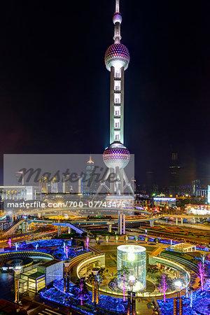 Oriental Pearl Tower Illuminated at Night, Lujiazui, Pudong, Shanghai, China