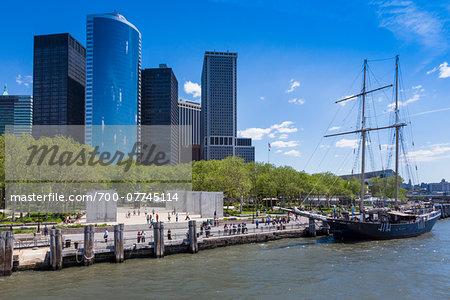 Tall Ship docked at Battery Park, New York City, New York, USA