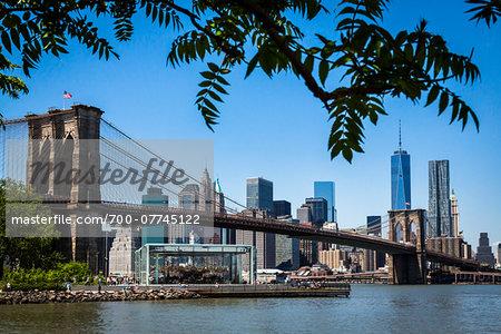 Jane's Carousel, Brooklyn Bridge Park under Brooklyn Bridge with Manhattan Skyline, New York City, New York, USA