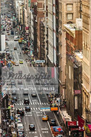 High Angle View of Broadway, New York City, New York, USA