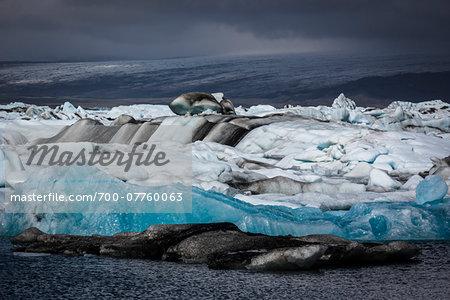 Close-up of glacial ice in lake, Jokulsarlon, Iceland