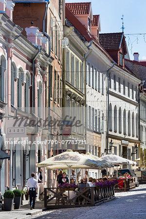 Street scenc with outdoor cafes, Tallinn, Estonia