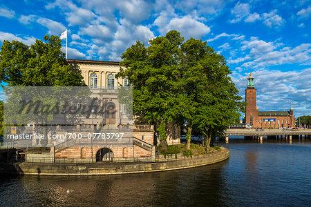 Stromsborg with Stockholm City Hall in the background, Stockholm, Sweden