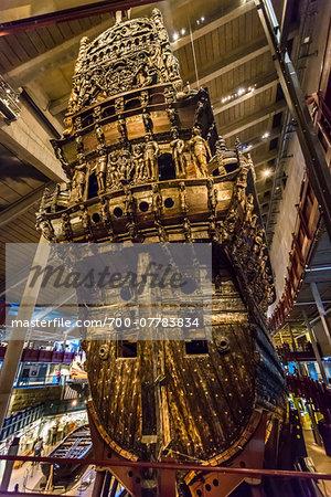 Close-up of the Vasa warship, Vasa Museum, Stockholm, Sweden