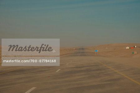 Highway during Sand Storm, Jishayr, South Oman, Oman