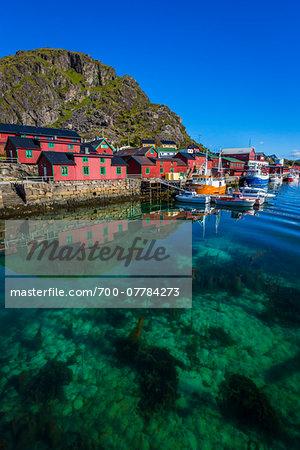 Rorbuer and Fishing Boats, Stamsund, Vestvagoya, Lofoten Archipelago, Norway