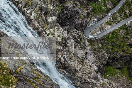 Waterfall and Hairpin Turn on Trollstigen, More og Romsdal, Norway