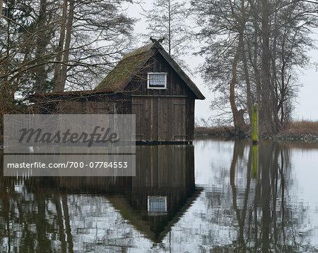 Boathouse on the Lake, Schweriner Aussensee, Schwerin,  Western Pomerania, Mecklenburg-Vorpommern, Germany