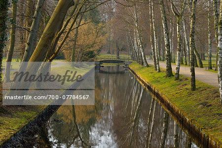 Bridge over Creek on Castle Grounds, Schwerin Castle, Schwerin, Western Pomerania, Mecklenburg-Vorpommern, Germany