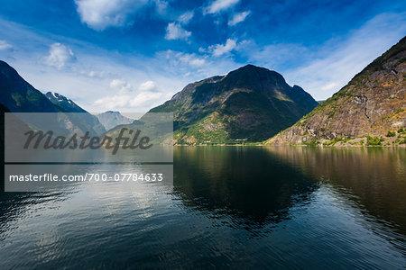 Naeroyfjord, Sognefjord, Aurland, Sogn og Fjordane, Norway