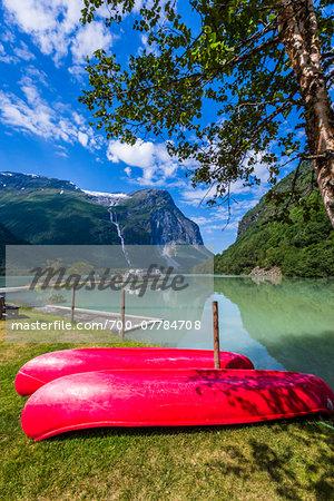 Canoes on Shore, Kjenndalstova, Sogn og Fjordane, Norway