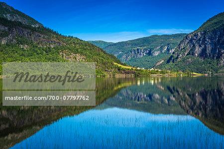 Scenic view of lake, Granvinsvatnet, Granvin, Hordaland, Norway