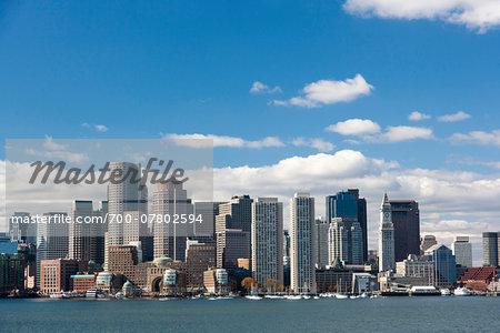 Skyline and harbor, Boston Harbor, Massachusetts, USA
