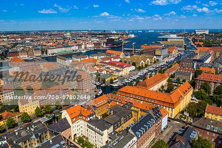 View of Copenhagen from the top of the Church of Our Saviour (Vor Frelser Kirke) in the Christianshavn city district, Copenhagen, Denmark