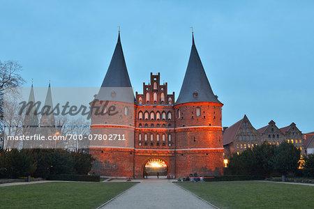Holsten Tor at dusk, Luebeck, Schleswig-Holstein, Germany