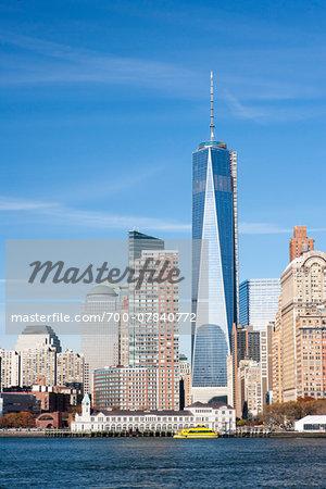 Skyline with One World Trade building, Manhattan, New York City, New York, USA