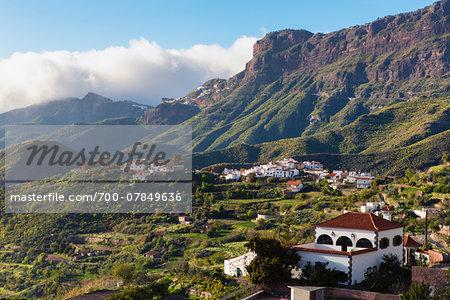 Volcanic landscape surrounding the mountain village of Tejada, Gran Canaria, Las Palmas, Canary Islands