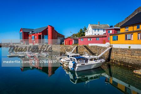 Harbour and waterfront, Stamsund, Vestvagoy island, Lofoten Archipelago, Nordland, Northern Norway, Norway