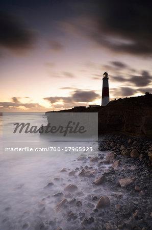 Illuminated Lighthouse at Sunset, Portland Bill Lighthouse, Isle of Portland, Dorset, England