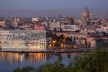 View over Harbour Entrance towards City Center, Havana, Cuba