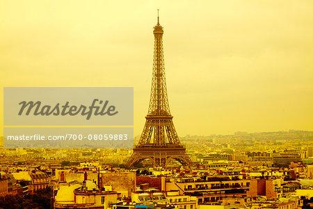 Eiffel Tower viewed from Arc de Triomphe, Paris, France