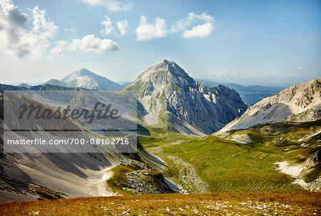 Overview of the Gran Sasso mountain in summer, Gran Sasso and Monti della Laga National Park, Apennines, Abruzzo, Italy