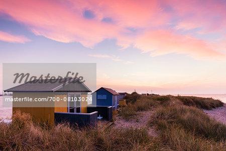 Beach Huts at Grass Covered Sand Dune by Baltic Sea at Dawn, Aero Island, Jutland Peninsula, Region Syddanmark, Denmark