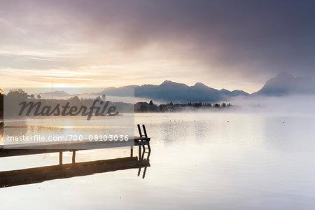 Jetty in Autumn, Lake Hopfensee, Swabia, Bavaria, Germany