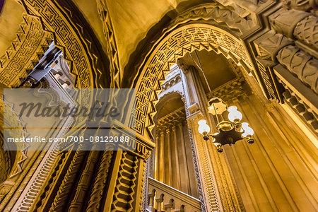 Grand staircase, Penrhyn Castle, Llandegai, Bangor, Gwynedd, Wales, United Kingdom