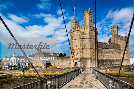 Aber Swing Bridge at Caernarfon Castle, Caernarfon, Gwynedd, Wales, United Kingdom