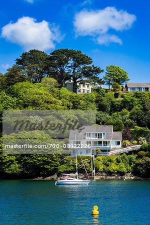 Sailboat and House, Fowey, Cornwall, England, United Kingdom