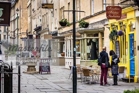 Street scene with stores and restaurants, Bath, Somerset, England, United Kingdom
