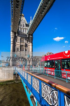 Double Decker Bus Crossing Tower Bridge, London, England, United Kingdom