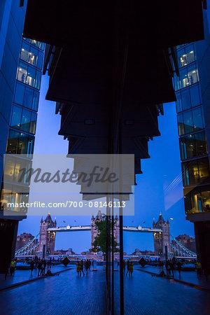 Tower Bridge with Reflection at Dusk, London, England, United Kingdom