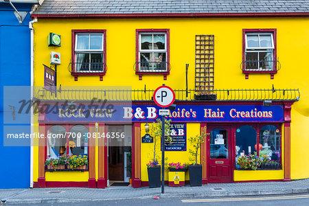 Brightly colored buildings, street scene, Kinsale, County Cork, Ireland