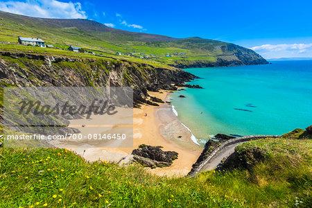 Scenic, coastal overview, Slea Head, Slea Head Drive, Dingle Peninsula, County Kerry, Ireland