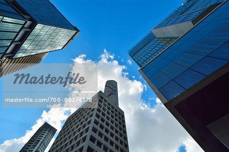 View between Skyscraper to sky, Brisbane, Queensland, Australia