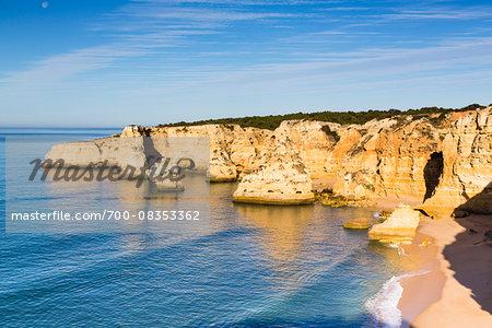 Rock Formations and Cliffs at Praia da Marinha, Lagoa, Algarve, Portugal