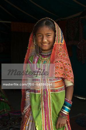 Kutchi Nomadic Girl Dressed in Traditional Costume, Kutch District, Gujarat, India