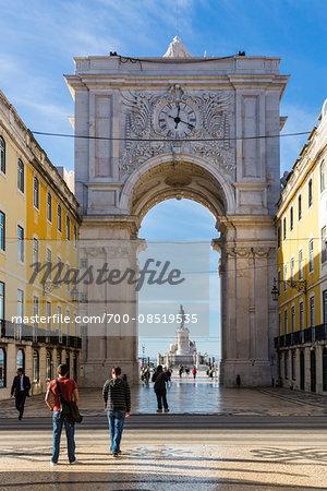 Rua Augusta Arch (Arco Triunfal), Praca do Comercio, Baixa District, Lisbon, Portugal