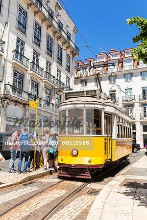 Old tram at Praca Luis de Camoes, Chiado District, Lisbon, Portugal