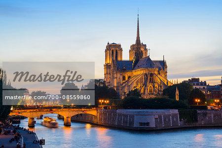 Notre Dame at Dusk, Ile de la Cite. Paris, Ile-de-France, France