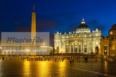 St Peter's Basilica illuminated at dusk, Vatican City, Rome, Italy