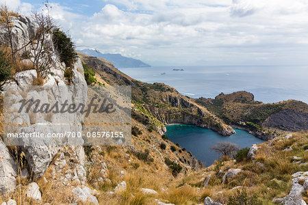 View of the Amalfi Coast from Punta Campanella on the Sorrento Peninsula, Campania, Italy