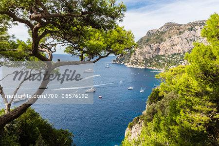 Elevated view of Marina Piccola beneath steep cliffs, Capri, Campania, Tyrrhenian Sea, Italy