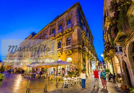 Restaurants in Piazza Duomo at Dusk, Syracuse, Sicily, Italy